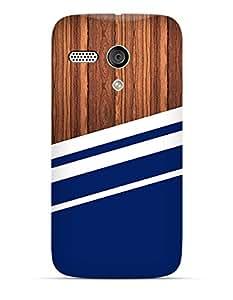 Blue white stripes on wooden Moto G case