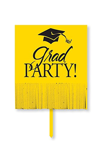 Creative Converting Yard Sign with Fringe, Yellow Grad