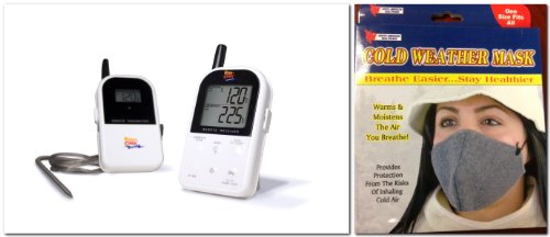 Maverick Et732 Long Range Wireless Dual 2 Probe BBQ Smoker Meat Thermometer Set + Cold Weather Mask