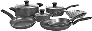 T-fal A821SA94 Initiatives Nonstick Inside and Out Dishwasher Safe Oven Safe PTFE Free 10-Piece Cookware Set, Charcoal