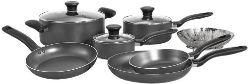 T-fal A821SA Initiatives Nonstick Inside and Out Dishwasher Safe Oven Safe Cookware Set, 10-Piece, Charcoal (T Fal Cookware 10 Piece compare prices)
