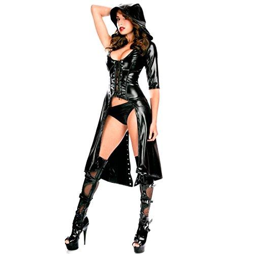EFE Damen Kleid LackLeder WetLook Kleid Sexy Gothic Catsuit Bodysuit Body Nachtkleidung Kostüm Clubwear