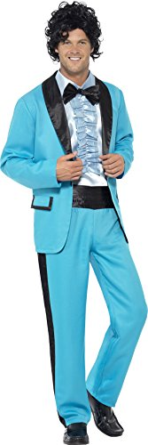 Men's 80's Prom King Costume with Jacket, Pants and Mock Tuxedo. Two Sizes.