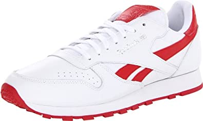 Reebok Men's Classic Leather Pop Lace-Up Fashion Sneaker,White/Excellent Red/Steel,7 M US