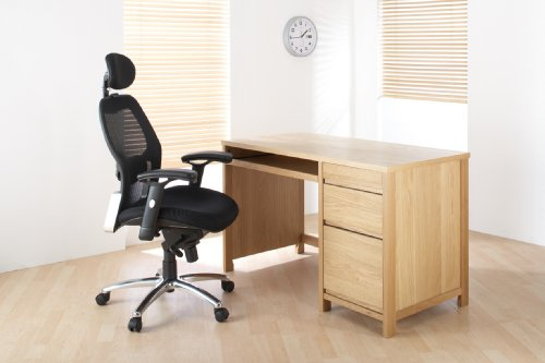 Hunter Oak Office Desk With Filing Drawer and 2 Stationary Drawers