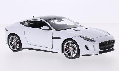 jaguar-f-type-coupe-blanche-noire-voiture-miniature-miniature-deja-montee-welly-124
