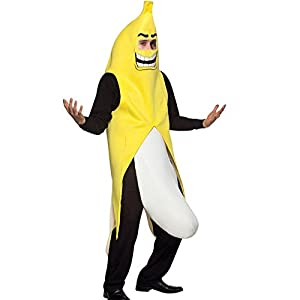 Beshiny Men's Halloween Carnival Party Costume Cute Big Yellow Banana Flasher