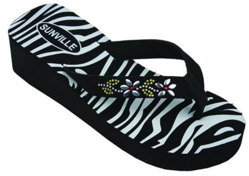 Sunville Womens Fashion Flip Flops,2337 Zebra,7 back-16596