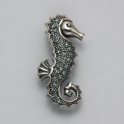 Aqua Crystal Seahorse Pin