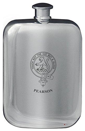 pearson-family-crest-design-pocket-hip-flask-6oz-rounded-polished-pewter