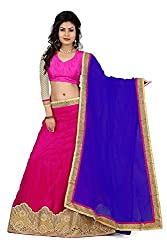 Pushty Fashion Pink and Red Net Lehnga