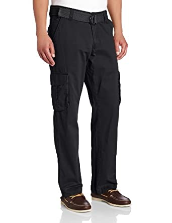 Lee Men's Relaxed Fit Utility Belted Cargo Pants, Graphite, 30x30