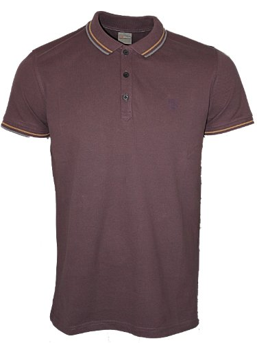 New Mens Burgundy Police 883 Jeans Renzo Designer Polo Neck T-Shirt Top Size L