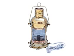 Handcrafted Nautical Decor Solid Brass Anchormaster Electric Lantern, 15