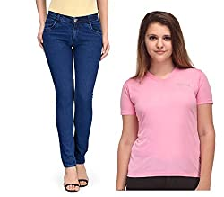 Oleva Women combo set of 2 (denim Blue jeans and Pink T-Shirt ) ONC-08_32