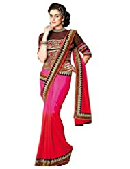 Aesha Embroidered Multicolor Chiffon Saree With Unstiched Blouse Piece