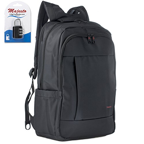 Laptop Backpack 17 Inch for Men and Women - Slim - Padded - Professional - Lightweight - Water Resistant - Ergonomic - With Bottle Holders - for Business College and Travel + Padlock - Bundle - Black