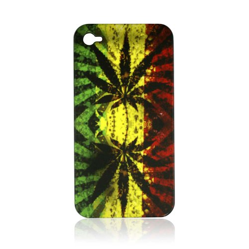 Fashion By CellAllure Snap-On with Marijuana Leaf for iPhone 4G - Green, Yellow, and Red