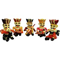 JaipurCrafts Rajasthani Musician Set Of 5 Showpiece - 10.16 Cm (Wood, Multicolor)