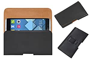 Acm Belt Holster Leather Case For Alcatel Onetouch Idol Alpha 6032 Mobile Cover Holder Clip Magnetic Closure Black