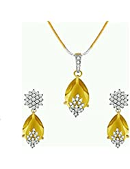 M Creation Gold Plated Yellow Colored Pendant Set For Women