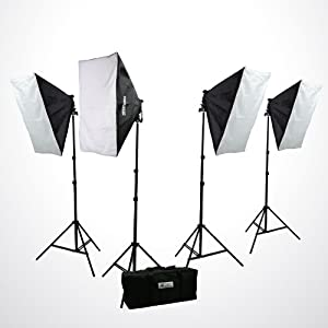 ePhoto H9004S4 3200 Watt Digital Photography Photo Video Continuous Lighting Light Kit Carrying Case