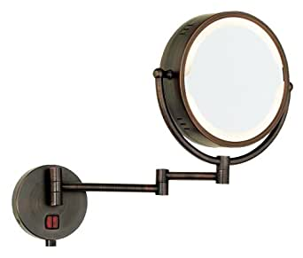 Vanity Lights You Can Plug In : Oil Rubbed Bronze Swing Arm Plug-In Lighted Vanity Mirror: Amazon.co.uk: Lighting