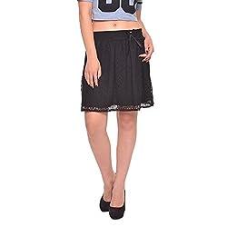 Vvoguish Corporate Wear Nylon Solids Black Skirt-VVLCESK825BLK-M