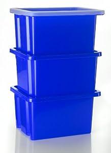3 blaue Stapelboxen mit 3 Deckeln - Made in Germany
