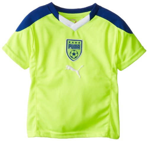 Puma Little Boys' Toddler V-Neck Crest T-Shirt, Safety Yellow, 4T front-760014
