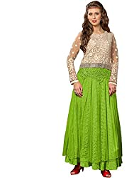 Th Fashion World Cream and Green Embroidered Work Semi Stitched Gown Crafted on Net Fabric