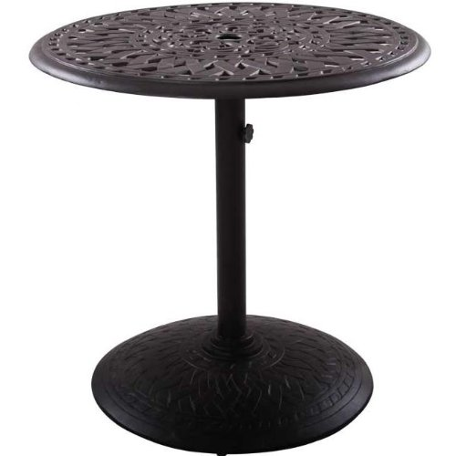 Darlee Series 60 Cast Aluminum Round Outdoor Patio Pedestal Dining Table - 30 Inch - Antique Bronze