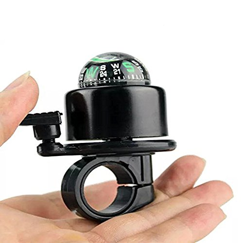 Ezyoutdoor 2 in 1 Bike Bell Ring and Ball Compass Bike Alarm Ring ,Aluminium Alloy MTB Bicycle Cycling Handlebar Bell Ring Horns Gradienter for Riding Travel Hiking Camping Backpacking BBQ (black) (Grips For Bull Horn Bars compare prices)