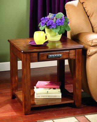 Cheap Contemporary End Table Warm Spice Brown Finish (T224-3)