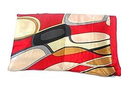 Quintessential Graphic Print Silk Blend Scarf Shawl Wrap Throw (Red)