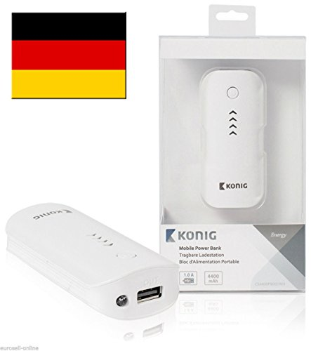 KÖNIG Powerbank 4400mAh Ersatzakku Notfall Akku extern USB Handy mobil tragbar weiß für iPhone 4 4s 5 5s 5c 6 Plus iPad 1 2 3 4 Mini Air Samsung Galaxy S3 S4 S5 TAB 1 2 3 4 5 NOTE 1 2 3 4 HTC ONE M8 LG G1 G2 G3 mini