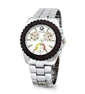 Mens Silver Tone Fashion Bracelet Rugged Wrist Watch