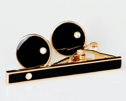 Lodestar Golden Nebula Circular Black Stud Gem Cufflink & Tieclip Set with Gift Box (B-23)