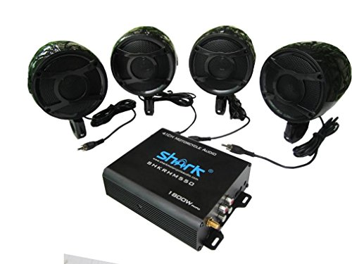 4.1ch 1800 Watt Motorcycle audio Atv, Snowmobile Audio System Control, Quality Speakers with Bluetooth (Black) accessories