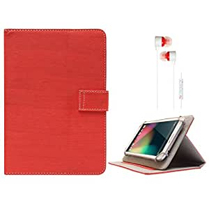 DMG Protective 7in Flip Book Cover Case for Zync Z18 Dual Core (Red) + White Stereo Earphone with Mic and Volume Control