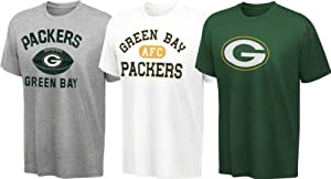 Green Bay Packers Youth Green, White, Grey 3-Tee Combo Pack by Genuine Stuff