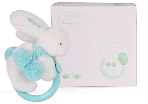 DOUDOU ET COMPAGNIE - White & Turquoise Pompon Soft Bunny With Rattle