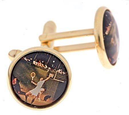 Gold plated cufflinks with a vintage tennis player image with presentation box. Made in the U.S.A