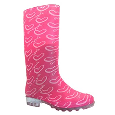 Pineapple Womens Splish Pink Heart Print Fashion Welly Boots