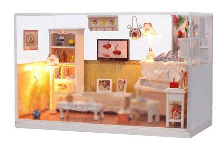 Big Dollhouse Miniature Diy Wood Frame Kit With Light Model Sweet Promise Gift Ldollhouse58-D88