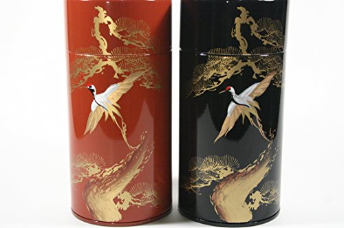 Tea Tin Japanese Tea Caddy Double Lid (Red)