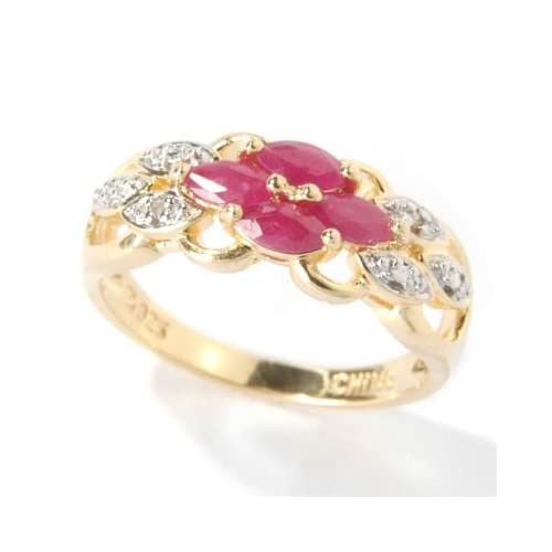 925 Fusion Emerald, Ruby or Sapphire and Diamond Accent Ring