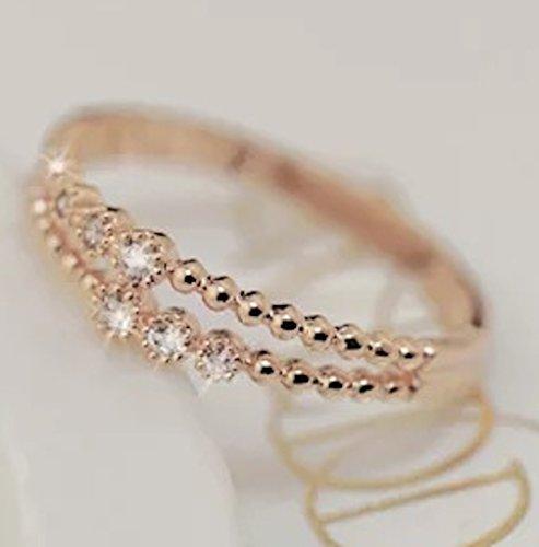 Gieschen T Jewelry ギーシェン ジュエリー(色落ちしないリング)18KGP/二重6粒クリスタル/ピンクゴールド/シルバー