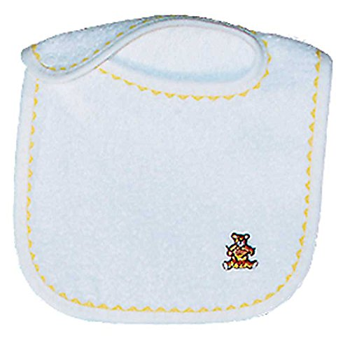 Raindrops Unisex Appliqued Bib, White/Yellow