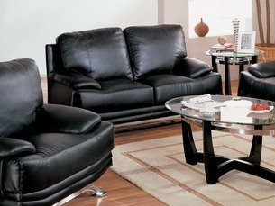 Buy Low Price AtHomeMart Black Leather Match Loveseat (CRMKS2025BLK-2)
